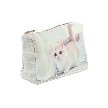 Kitten Print Vinyl Cosmetic Bag