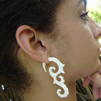 Fake gauge  White Bone Split Gauge Earrings Fancy Craved Cheater tribal Anela's hawaii