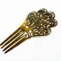 Victorian Decorative Hair Comb - Ornamental Fashion Accessory - Brown Tortoise Shell Look & Rhinestone Art Deco Style