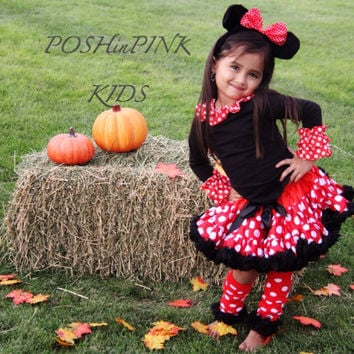 DELUXE Minnie Mouse inspired  pettiskirt, outfit, costume, petti-skirt 1-7 years, red, black, Disney, tutu, baby, girls, toddler, halloween