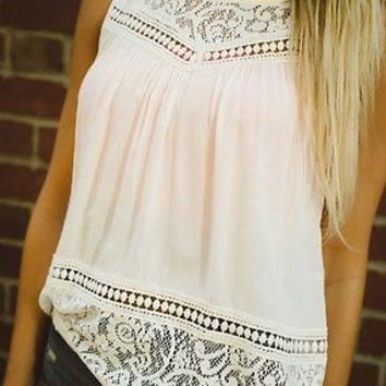 HOT sale 2015 new Ladies Lace Tank Top Sleeveless Vest Summer Blouse Tee Tops fashion Blouses