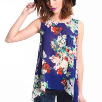 Cut-Out Floral Chiffon Top - LoveCulture