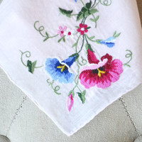1950s Handkerchief Blush Pink with Embroidered Morning Glories Bridal Hankie
