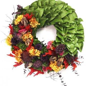 """Explosion of Colors Dried and Preserved Magnolia Wreath (18"""")"""