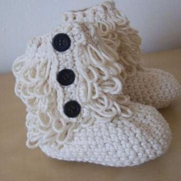 V0NE05 baby girl crochet ugg inspired furry booties winter clothing accessory button boots