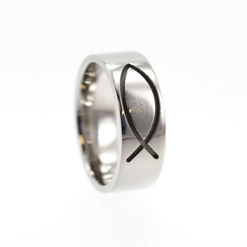 Christian Fish Ring - Titanium Band Engraved with Jesus Fish - The Miracle of Loaves and Fishes