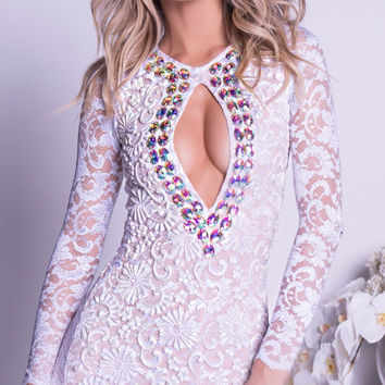 TIANEE LACE DRESS IN WHITE WITH CRYSTALS