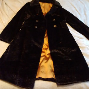 Leed's Vintage Dark Brown Textured Fur Coat size < Women's 10 with Gold Lining