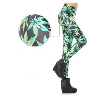 FashionMarijuana Pants Tights Women Printed Geometric Weed Leggings Ganja Yoga pants Smoke Stocking Pot Leaf Tights (Color Multicolor) = 1931841476