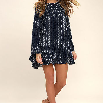 Odessa Navy Blue Print Long Sleeve Swing Dress