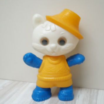 Plastic Cat Toy Baby Soviet Kid Vintage Retro Kitty Kitten USSR Child yellow blue white big large Russian Home Decor shower collectible
