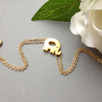 Tiny Gold Elephant Bracelet - Lucky Baby Elephant  - Chain Bracelet - Gift for Her