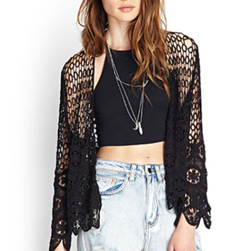 FOREVER 21 Scalloped Crochet Cardigan Black One
