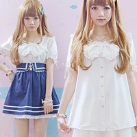 Japan Kawaii blouse High quality Summer Big Bow tie white Short Sleeve blouse Girls Harajuku Sweet shirts Lovely Lolita Blouse
