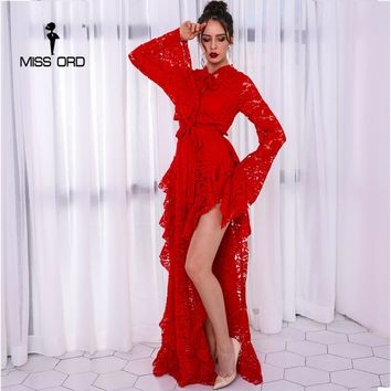 Missord 2018 Sexy  Long Sleeve  High Split Lace Hollow Out  Solid Color Maxi  Elegant Dress FT8754