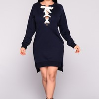 Run For It Lace Up Tunic - Navy
