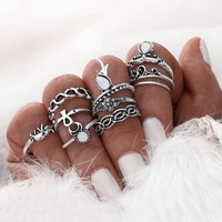 Women Vintage Elephant Ring Set 10pcs Statement Ring Set bohemian Gypsy Boho finger Knuckle Rings