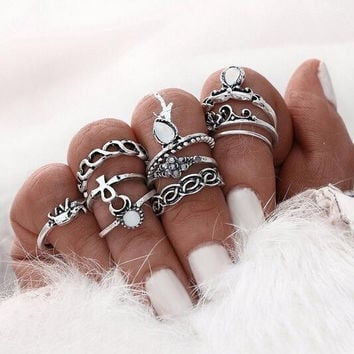 Women Vintage Elephant Ring Set 10pcs