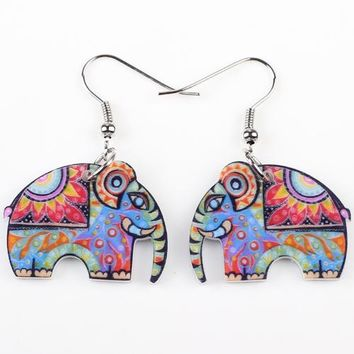 Elephant Drop Big Earrings Acrylic Long  Dangle News Girls Woman Fashion Jewelry Accessories Cute Animal Design