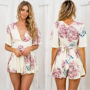 Women's Fashion Summer Sexy V-neck Floral Butterfly Jumpsuit [7768305985]