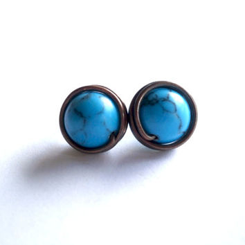 Handmade Wire Wrapped Stud Earrings. Antique Copper Jewelry Wire Wrapped Turquoise Earrings. Stud Earrings.