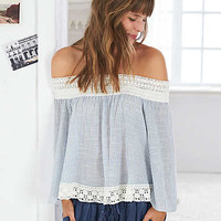Aerie Off-The-Shoulder Peasant Top , Blue