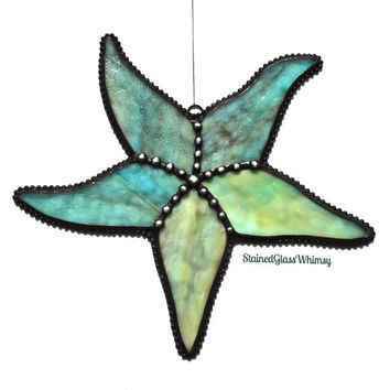 "Stained Glass STARFISH Suncatcher (Large), ""Tidal Pool"" - Caribbean Blue & Sand, with Caramel; Decorative Soldering -- USA Handmade Original"