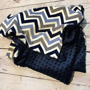 Personalized Baby Blanket,Handmade Minky Blanket,Chevron Print,Navy Blue Gray Blanket,Baby boy,Baby Accessories,Baby Gift,Baby Bedding,Crib