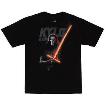 Star Wars Force Awakens Kylo Glowstick Licensed Kid's Youth T-Shirt - Black