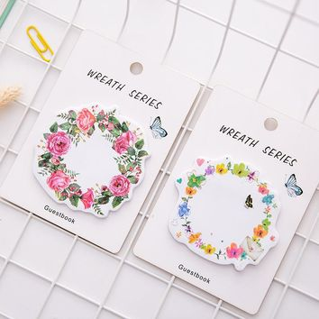 30pages/pc Nice Wreath Memo Pad Sticky Notes Bookmark School Office Supply Note Paper Scrapbooking Sticker