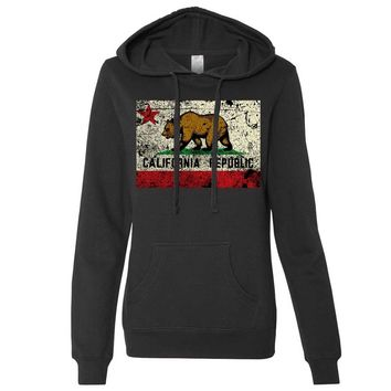 California State Flag Distressed Ladies Fitted Hoodie