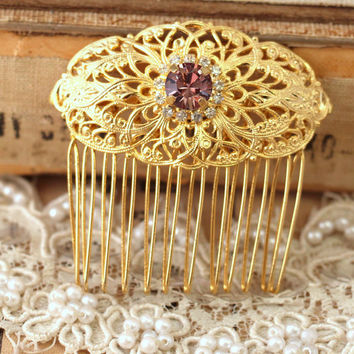 Bridal Crystal Hair comb, Swarovski  Hair comb, Bridal hair accessories, Crystal hair accessories, Bridal Hair comb, Blush Pink hair comb.