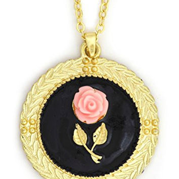 Pink Rose Necklace Vintage Mirror Flower Art Cabochon Pendant Gold Tone NX18 Fashion Jewelry