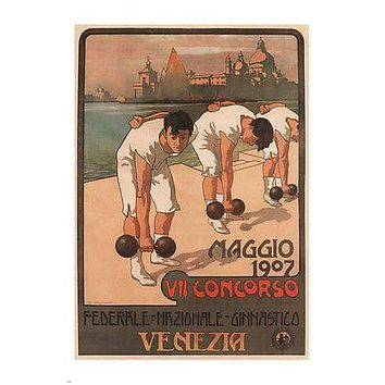 FEDERAL COMPETITION GYMNASTICS vintage poster G Carpanetto ITALY 1907 24X36