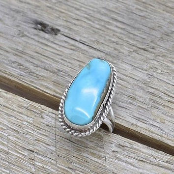 Vintage Southwestern Sterling Silver Turquoise Ring 925 Jewelry Handmade