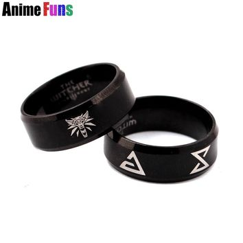 Game The Witcher 3 Wolf Logo Ring for women man Wild Hunt Finger Ring Stainless Steel Charm Cosplay Jewelry Birthday Gift