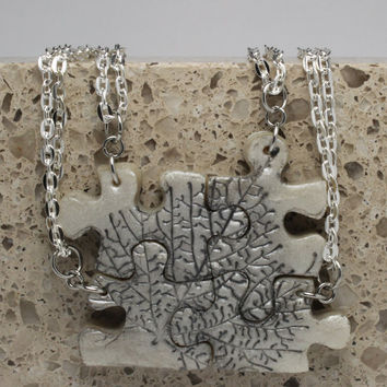 Puzzle Necklace Polymer Clay Friendship Jewelry Set of 4 Necklaces Leave Set 135
