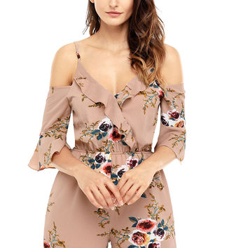 Apricot Multi Floral Ruffle Wrap Cold Shoulder Playsuit LAVELIQ