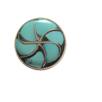 Tiny Sterling Turquoise Scatter Pin