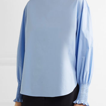 Cédric Charlier - Smocked cotton-blend poplin top