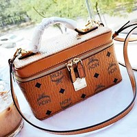 MCM Women Fashion Shopping Cosmetic Bag Leather Handbag Crossbody Satchel