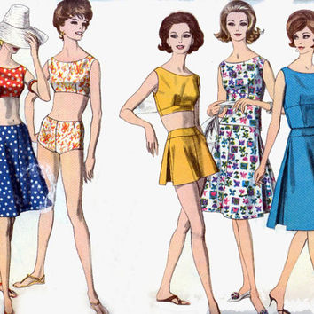1960s Vintage Sewing Pattern Vogue 5489 MOD Beachwear Playsuit and Skirt Size 14 Bust 34
