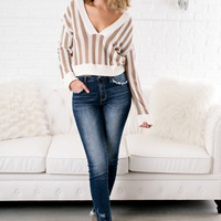 What Else Striped Cropped Sweater (Sand/Ivory)