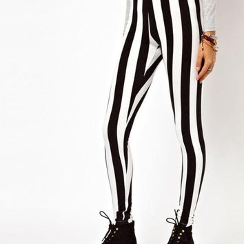 VONE7HQ OPAL FERRIE - Black and White Vertical Stripe Beetle Juice Spandex Leggings