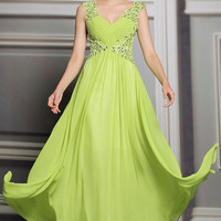 Keyhole Bright Yellow Long Formal Prom Evening Dress | DQ831236