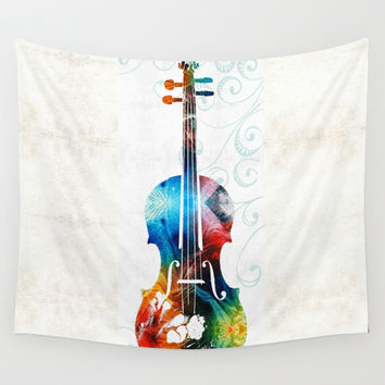 Colorful Violin Art by Sharon Cummings Wall Tapestry by Sharon Cummings
