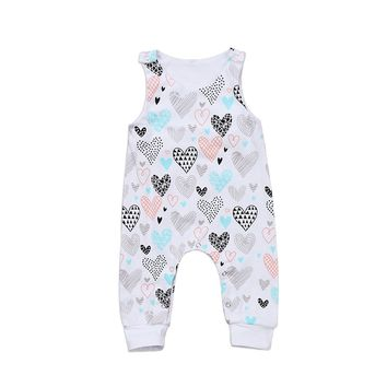 Baby Rompers Infant Baby Girl Boy Heart Romper Sleeveless Jumpsuit Playsuit Outfits New Fashion Baby Clothes