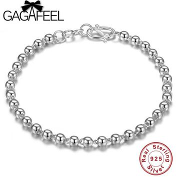 GAGAFEEL 925 Sterling Silver 4mm Ball Chain Bracelet Trendy Jewrly For Women Girl Real Silver Charm Bracelets Bangles 18cm