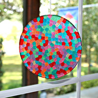 Unique Mosaic Suncatcher Gum Drop Delight Hand Crafted Large 6 inch Disk all ready for display by Mei Faith