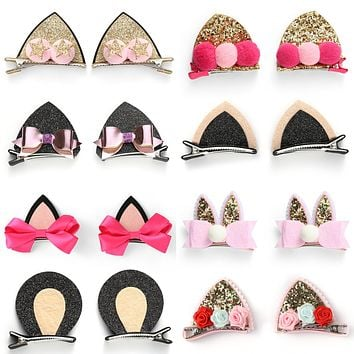 Baby Girls Cat Ear Hair Bows Clips Barrettes for kids Toddlers Children